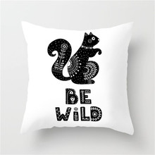 Fuwatacchi Cute Animal Cushion Cover Black White Deer Wolf Horse Printed Pillow Polyester Decoration Bedroom Sofa  Pillowcase