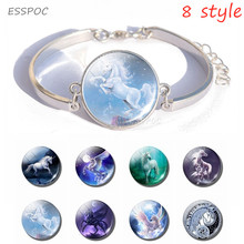 Handmade Jewelry White Horse Art Picture Bracelet Glass Cabochon Silver Bangles Animal