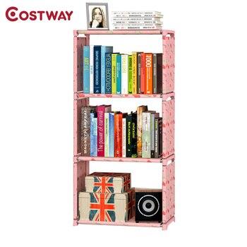 estantera simple no tejida a la moda de tres capas dormitorio estantes de almacenamiento estantera boekenkast librero w0185