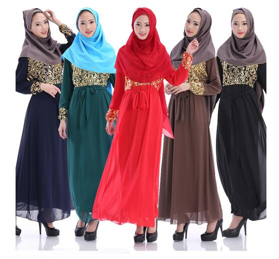 Long Sleeve Muslim Dress Chiffon Abaya Women Dubai Arabic Kaftan Robe Dresses Ladies Clothing Vestidos