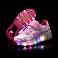 Синие  розовые  оранжевые модные туфли для девочек и мальчиков со светодиодной подсветкой; Обувь для катания на роликах для девочек; Детские...
