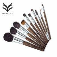 10 Pcs Make Up Brush Set Natural Super Soft Red Goat Hair Beauty Makeup Brushes HML01