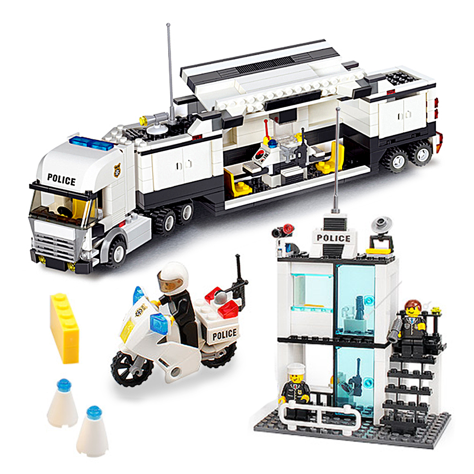 KAZI 511pcs Police Station truck Building Blocks set Compatible Legoed City figures enlighten DIY Bricks Toys for children Boy kazi 6726 police station building blocks helicopter boat model bricks toys compatible famous brand brinquedos birthday gift