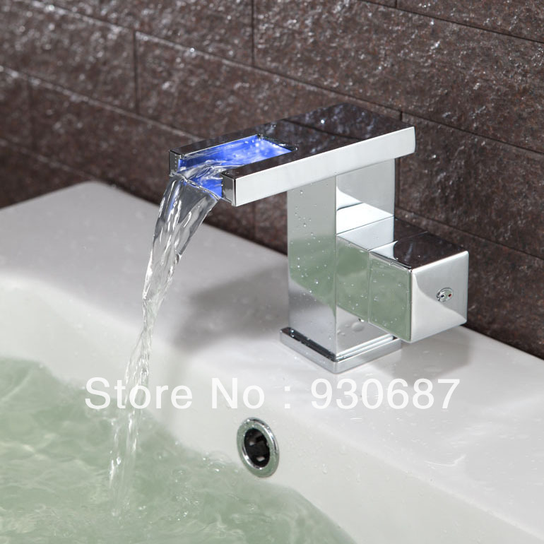 ФОТО NEW Fashion Color Changing LED Light Waterfall Spout Basin Sink Bathtub Faucet Mixer Tap Single Handle HL Series HL1002