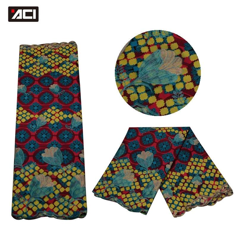 ACI African Wax Lace Fabric Super Wax Hollandais High Quality Nigeria Real Wax Ankara Lace Fabric