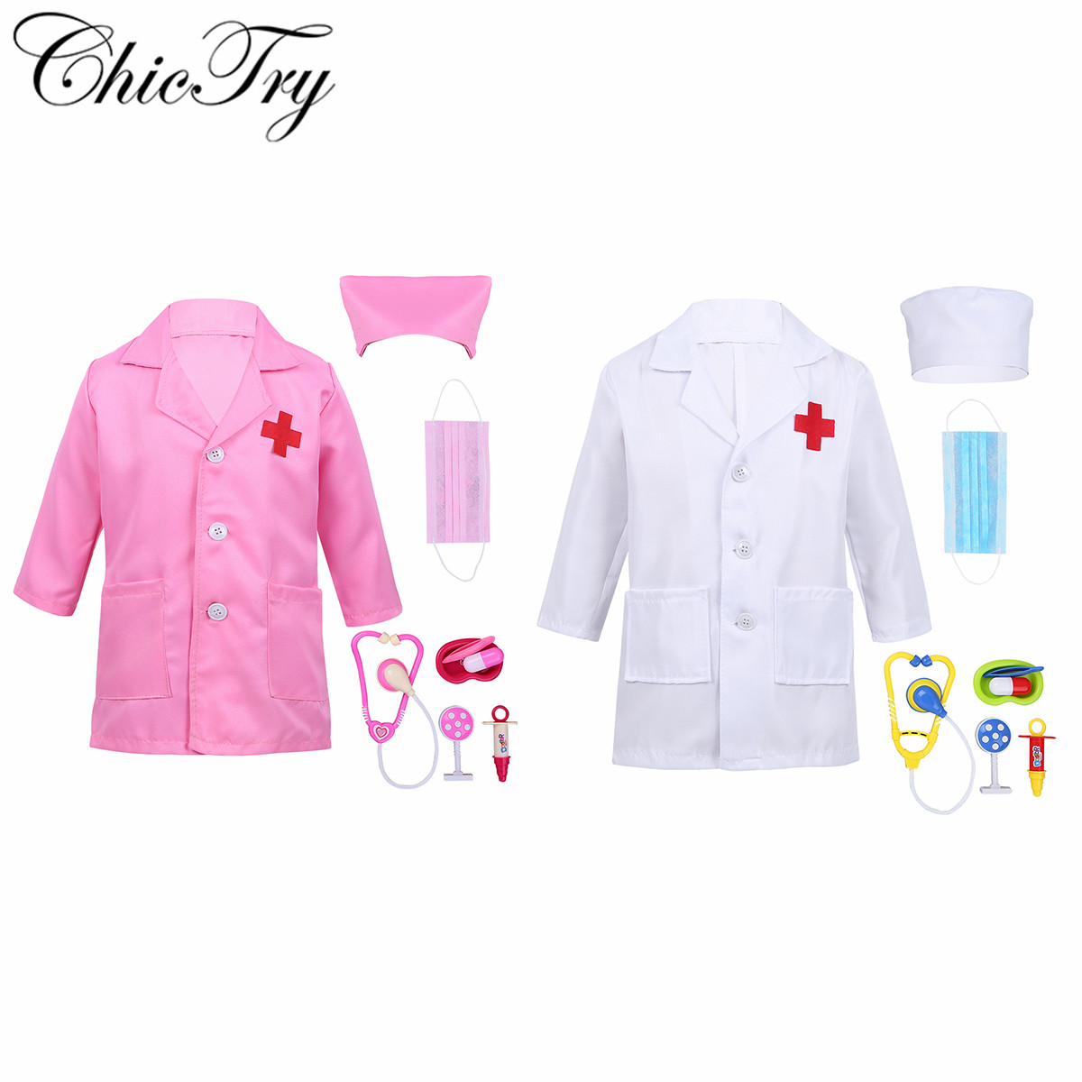 Children Cosplay Doctor Costumes Halloween Party Nurse Wear Fancy Coat Boys Girls Clothing Set Kids Child Jackets for Roleplay