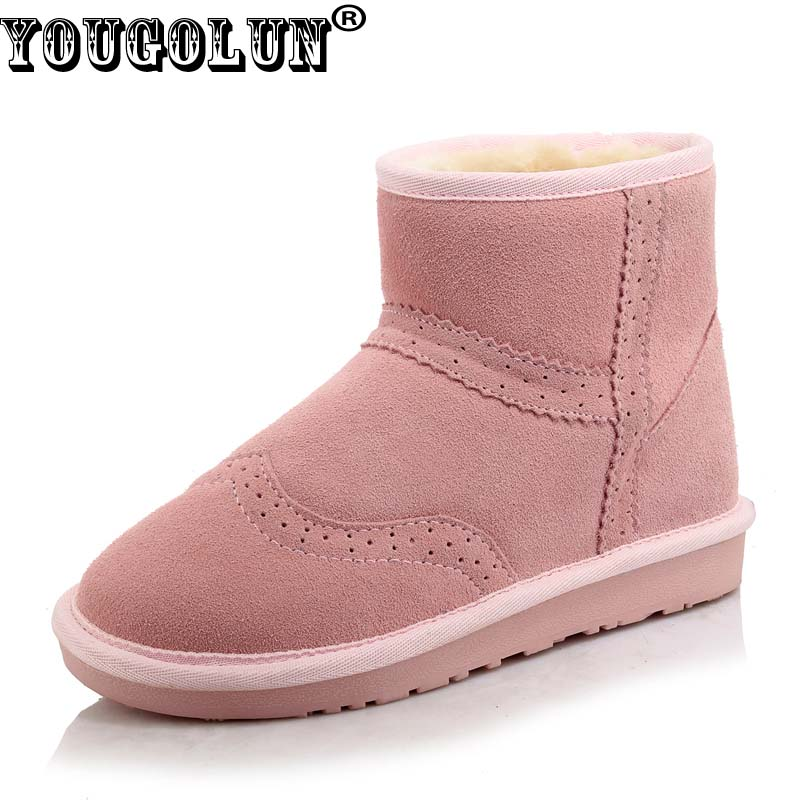 YOUGOLUN Women Snow Boots 2017 Winter Genuine Cow Suede Flat Ankle Boots Pink Purple Black Apricot Nubuck Leather Shoes #Y-214