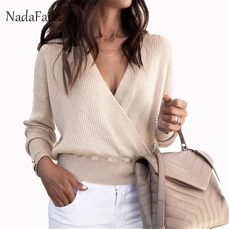 Trend Mark Nadafair Autumn Long Sleeve V Neck Solid Sexy Sweater Women Winter Casual Slim Knitted Jumper Female Oversize Pullover Tops