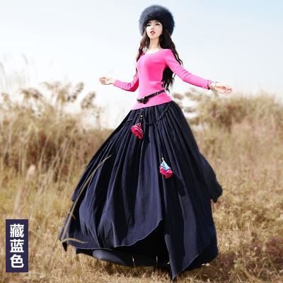 LYNETTES CHINOISERIE - BOSHOW 2016 Spring Original Design Women Asymmetrical Vintage Pastoral Thick Corduroy Cotton Skirt