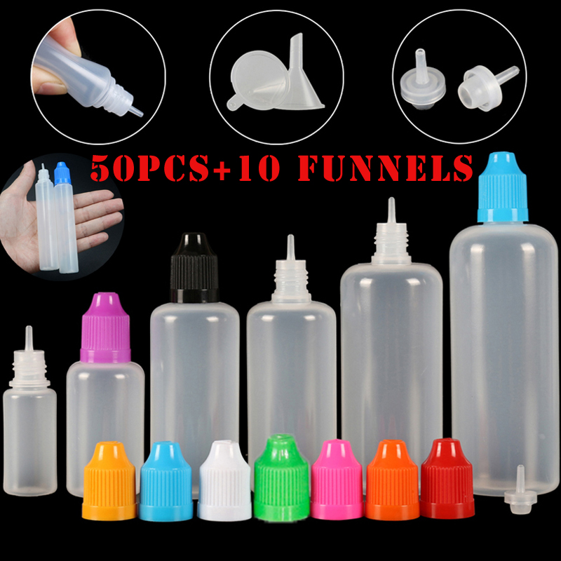50pcs 3/5/10/15/20/<font><b>30</b></font>/50/100/120 ml Empty LDPE Plastic Squeezable E Liquid Juice Dropper Eye Bottles Long Tip Cap <font><b>Vape</b></font> Container image