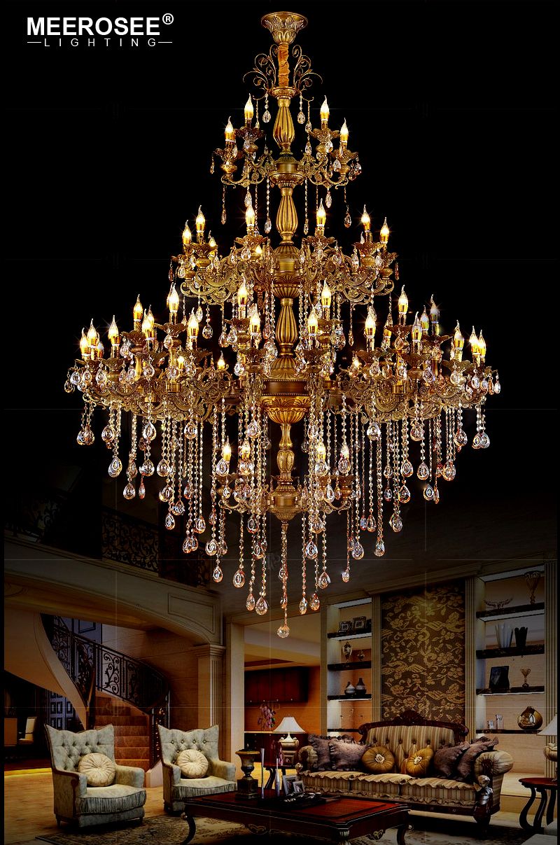 Luxurious Crystal Chandelier Gold Color