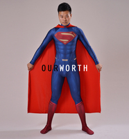 2016 Newest Man Of Steel Costume Spandex 3D Shad Superman Costume With Cape Male Superhero Costume