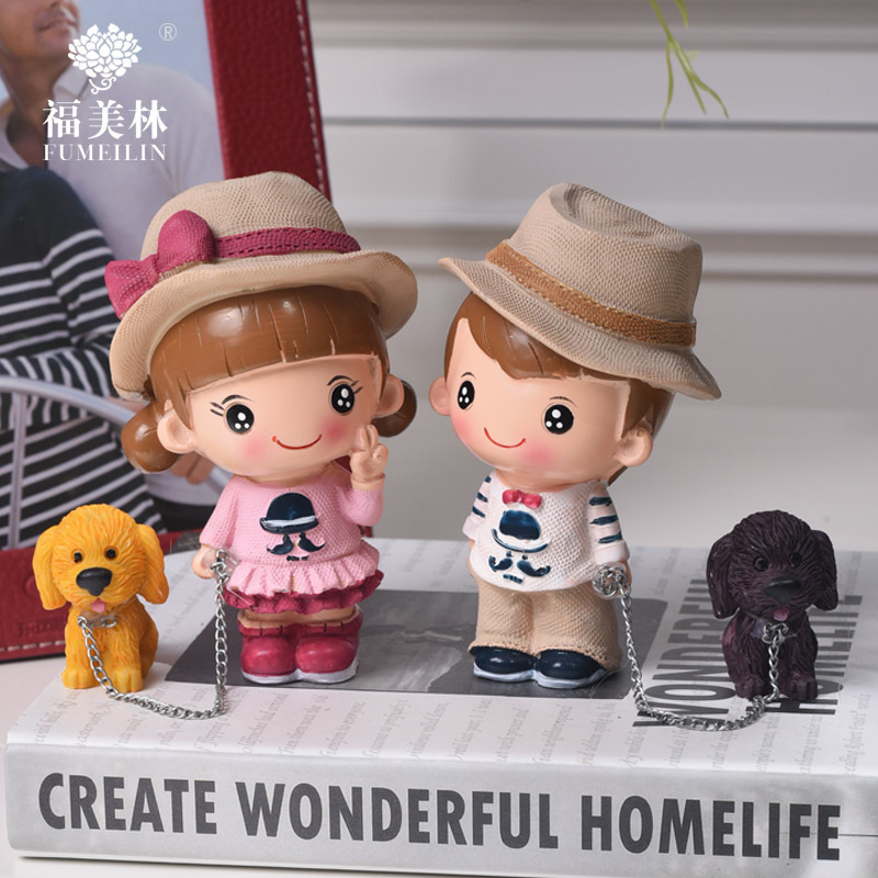 7-Creative resin lovers, men and women, dog dolls, ornaments, new homes, home decorations, clapboards, furnishings