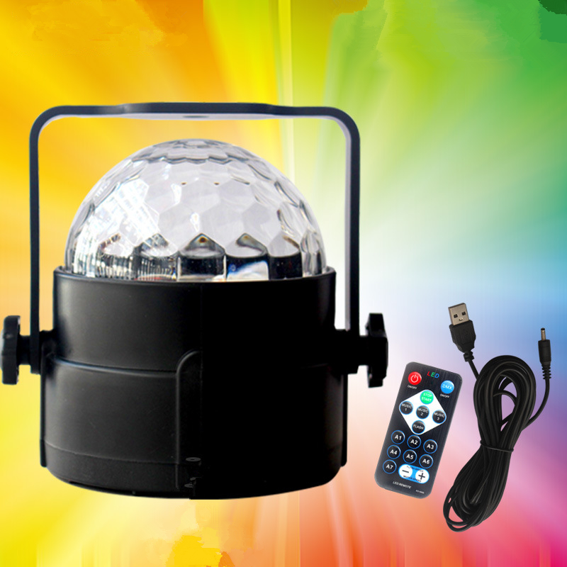 IR Remote Voice Colorful RGB LED Crystal Magic Rotating Ball Stage Light USB 5V Colorful KTV DJ Disco Light Party Effect Lights [mingben] led bulb e27 rgb stage 16 colorful change lamp spotlight 110v 127v 220v home party wedding with ir remote