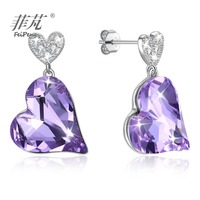 Violet heart crystal stone Hanging piece jewelry 925 silver white gold plating stud earring jewellery shopping with free postage