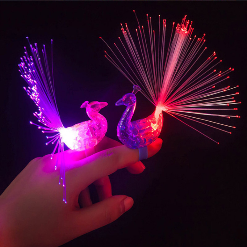 LED Finger Ring Beams Party Nightclub Gadget Glow Laser Light Torch Fun Event & Party Supplies Peacock Design 100pcs/lot