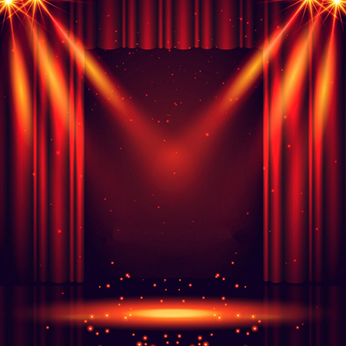 Theater Lights Background: Red Curtain Show Light Stage Laser Sparkly Backdrops Vinyl