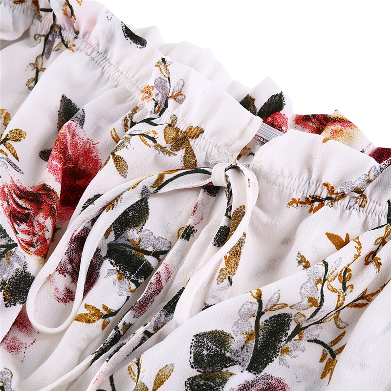 Top Floral Off Chemisier Blouse D'été Chemise De Manches Crop 3 En Les Mousseline À Épaule Courtes Shirt Boho Tops Femme Volants Dames Pour Femmes Soie 2018 Pw7xqz7