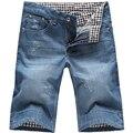 Más el tamaño 29-44 de Calidad Superior Del Verano Rayado Denim Jean Shorts Casual Shorts Homme Puños Blandos Bolsillos Sólido azul Bermudas