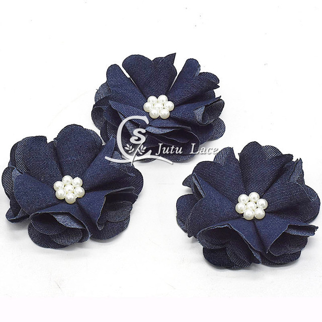 25 pcs/lot , 2.5'' shabby  pearl denim flower , shabby denim   chiffon flower for headband shoes/apparel accessories
