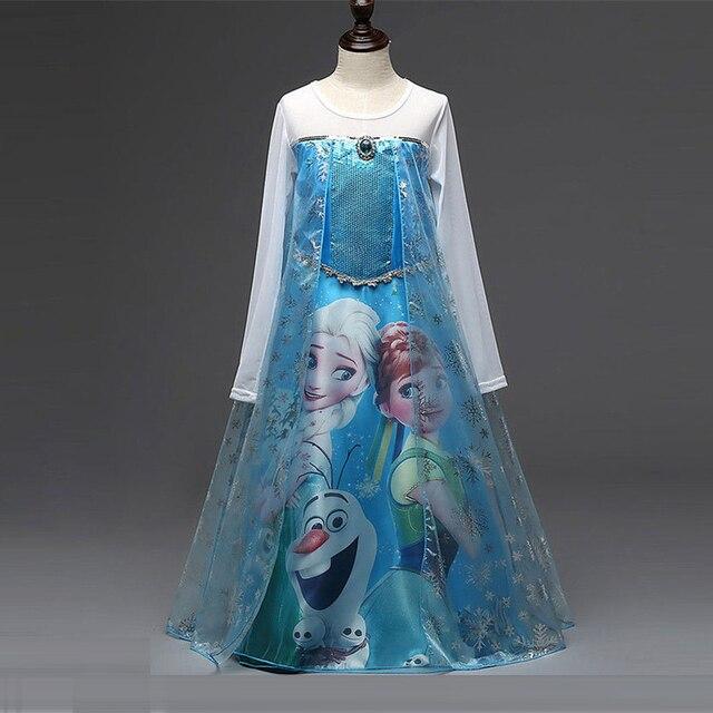 New Cartoon Girl Dresses Long Hair Princess Anna Dress Every for Children Clothing Snow Queen Elsa Dress Kid Surerstar Costume