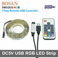 USB RGB LED Strip Light Waterproof 5V 2835 Strip Light 50cm 1M 2M Flexible tape ribbon RF Remote TV Background Mood lamp Strip