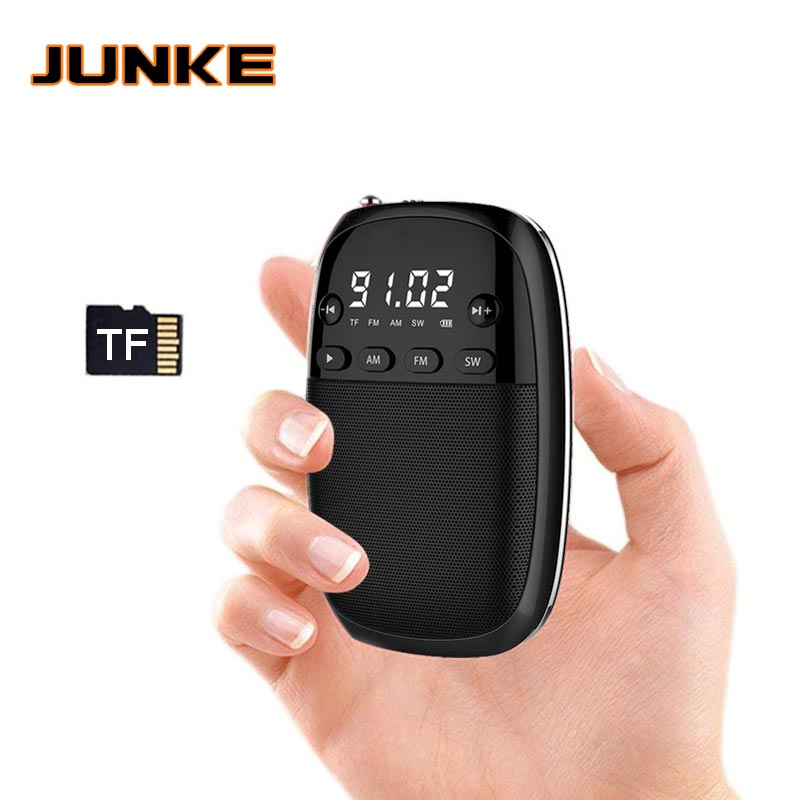 JUNKE FM/AM/SW Radio Receiver MP3 Player Mini Portable Radio With Rechargeable Battery Headphone Jack Support TF Card Play Box