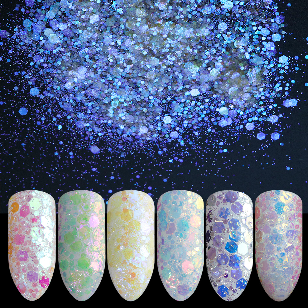 1 Box Nagel Glitter Mermaid Symphonie Pailletten Flocken Ab Glänzende Mixed Größe Hexagon Paillette Holo Dekoration Maniküre Jidt01-12 Nagelglitzer