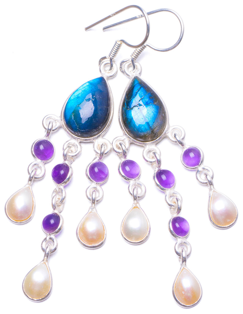 цена на Natural Labradorite,Amethyst and River Pearl Handmade Unique 925 Sterling Silver Earrings 2.5