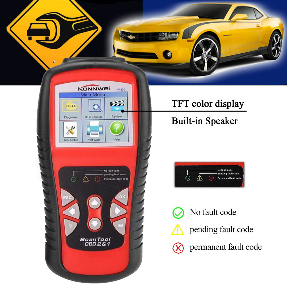 Hight Quality KONNWEI KW830 OBD2 EOBD Car Fault Code Reader Scanner Automotive Diagnostic Scan Tool With Battery tester Function free shippinng diy om580 obd scanner automotive obd2 eobd car code reader for engine abs dsc srs fault diagnostic tool