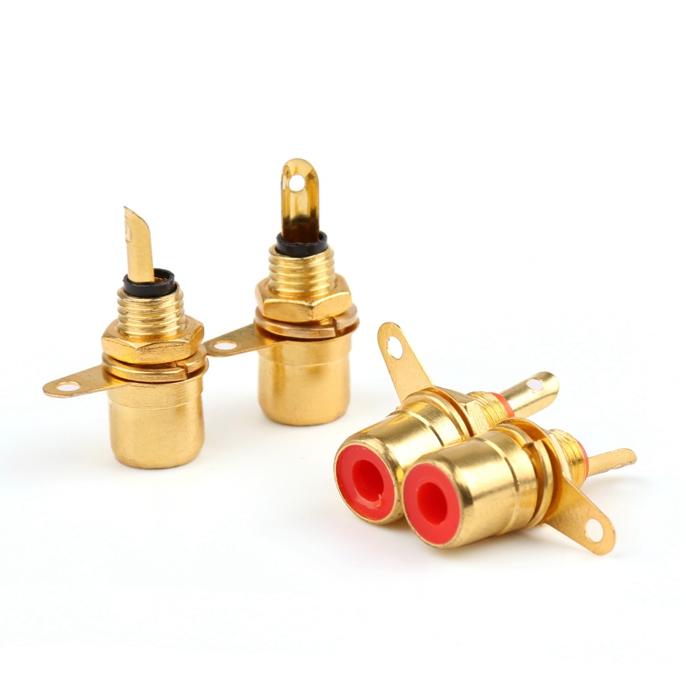 Areyourshop Hot Sale 10 Pcs Gold Plated RCA Phono Chassis Panel Mount Female Socket Adapter gold plated rca male to rca female right angle extension adapter black golden 3 pcs
