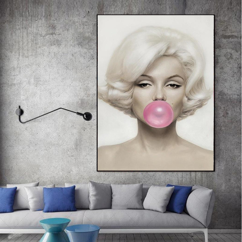 MUTU Figure Painting Marilyn Monroe Pink Bubble Gum  Prints Posters Wall Pictures For Living Room Wall Art Modern Home Decor