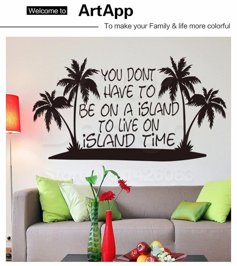 art creative design home decor cheap vinyl island coconut trees wall