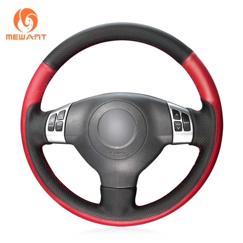 MEWANT Black Red Leather Car Steering Wheel Cover for Suzuki SX4 Alto Old Swift runba breathable leather steering wheel cover sets black white red