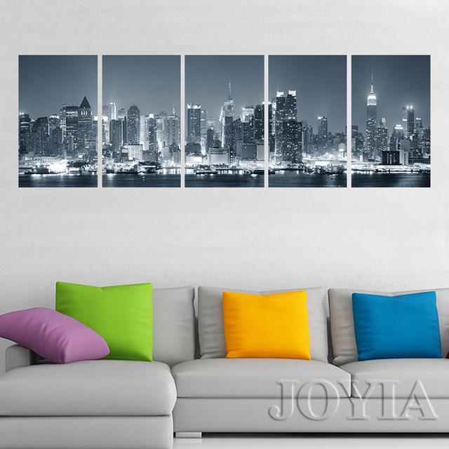 New York Cityscape Canvas Print Wall Art City Night Skyline ...