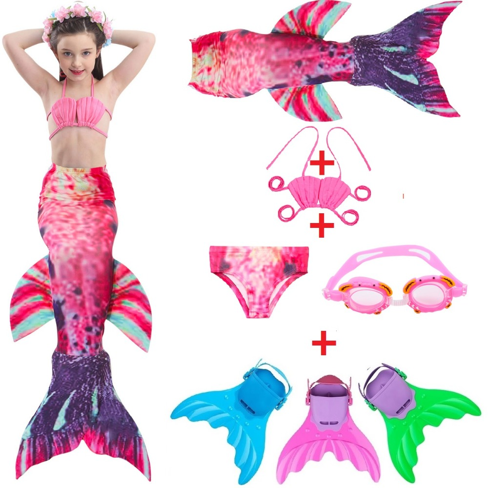 Kids Mermaid Swimsuit Mermaid Tail costume with Monifin Swimsuit Child's Wear Split Swimsuit Mermaid Tail Swimwear for girls