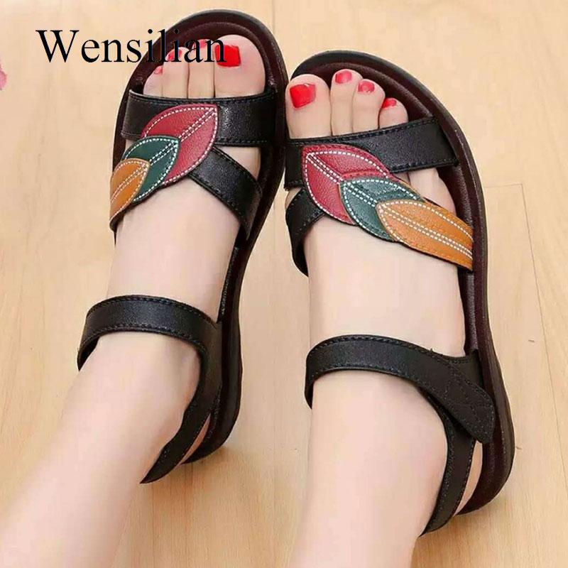 Women Sandal Flat Sandalias Mujer 2019 Leather Wedges Shoes Summer Shoes Hook&loop Ladies Beach Slippers Soft Sandalen Dames