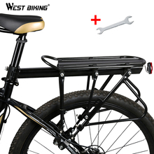 West biking cremalheiras de bicicleta 140 kg carga bagagem transportadora carga liga alumínio rack traseiro ciclismo selim saco suporte da bicicleta rack