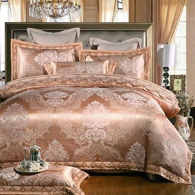 Elegant Satin Bedding Set Bed Pillowcase Duvet Sheet Cover Home Embroidery Style