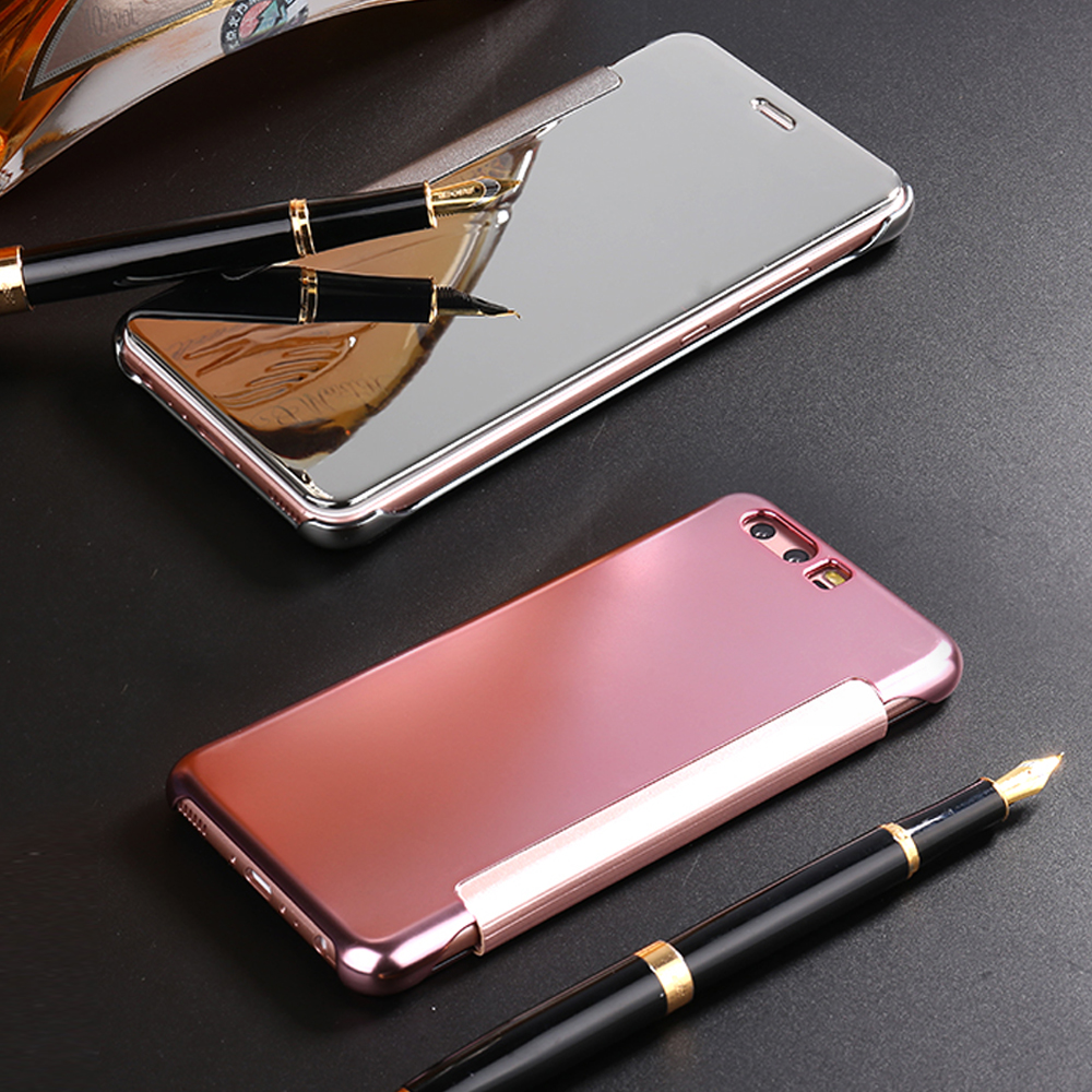Luxury Flip Make Up Mirror PC Plating Case for Huawei P10 5.1inch PC +Leather Cover Hard Plastic Back Cover Coque.