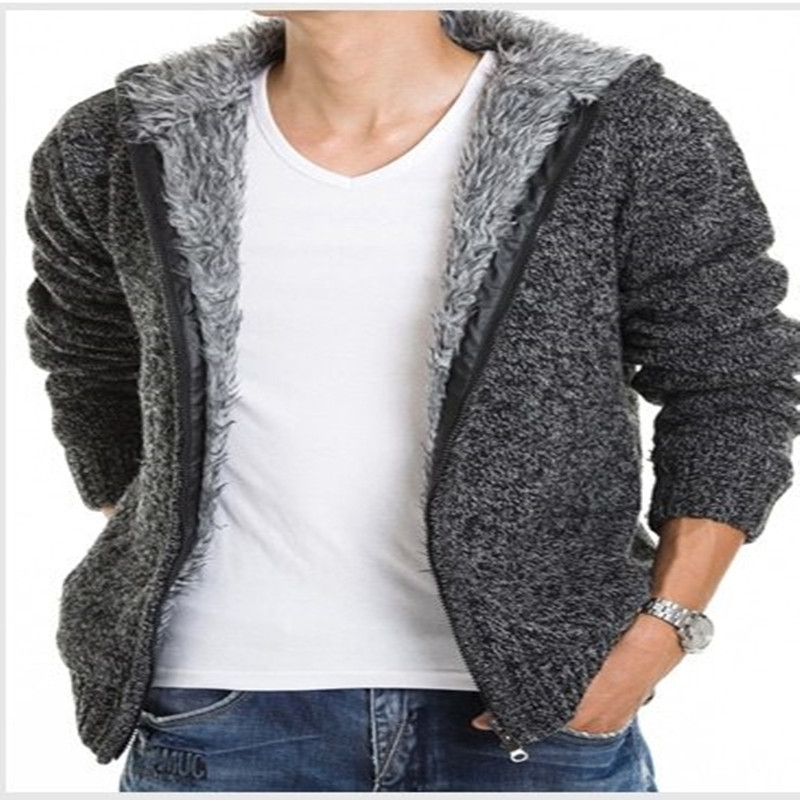 Korean Sweater Men Winter Warm Thick Sweaters Casual Faux