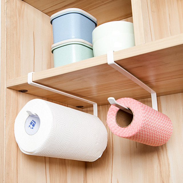 1PC Hanging Under Cabinet Paper Towel Holder Roll Paper Towel Rack  Stainless Metal Organizer Kitchen Cabinet