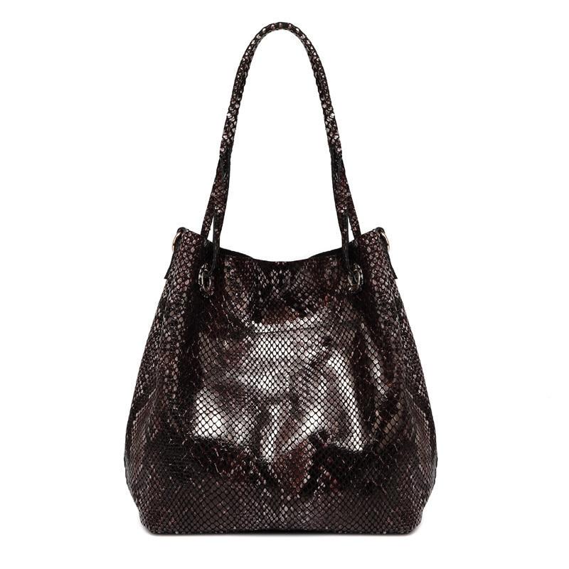 ФОТО 2017 New Brand design genuine cow leather shoulder bag women fashion Serpentine pattern leather handbags casual tote bag