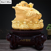 Company Open Gift Rotate Lucky Gold Toad Statue Home Decoration Accessories Mascot Figurine Ornament Shop Front Desk Decor Craft