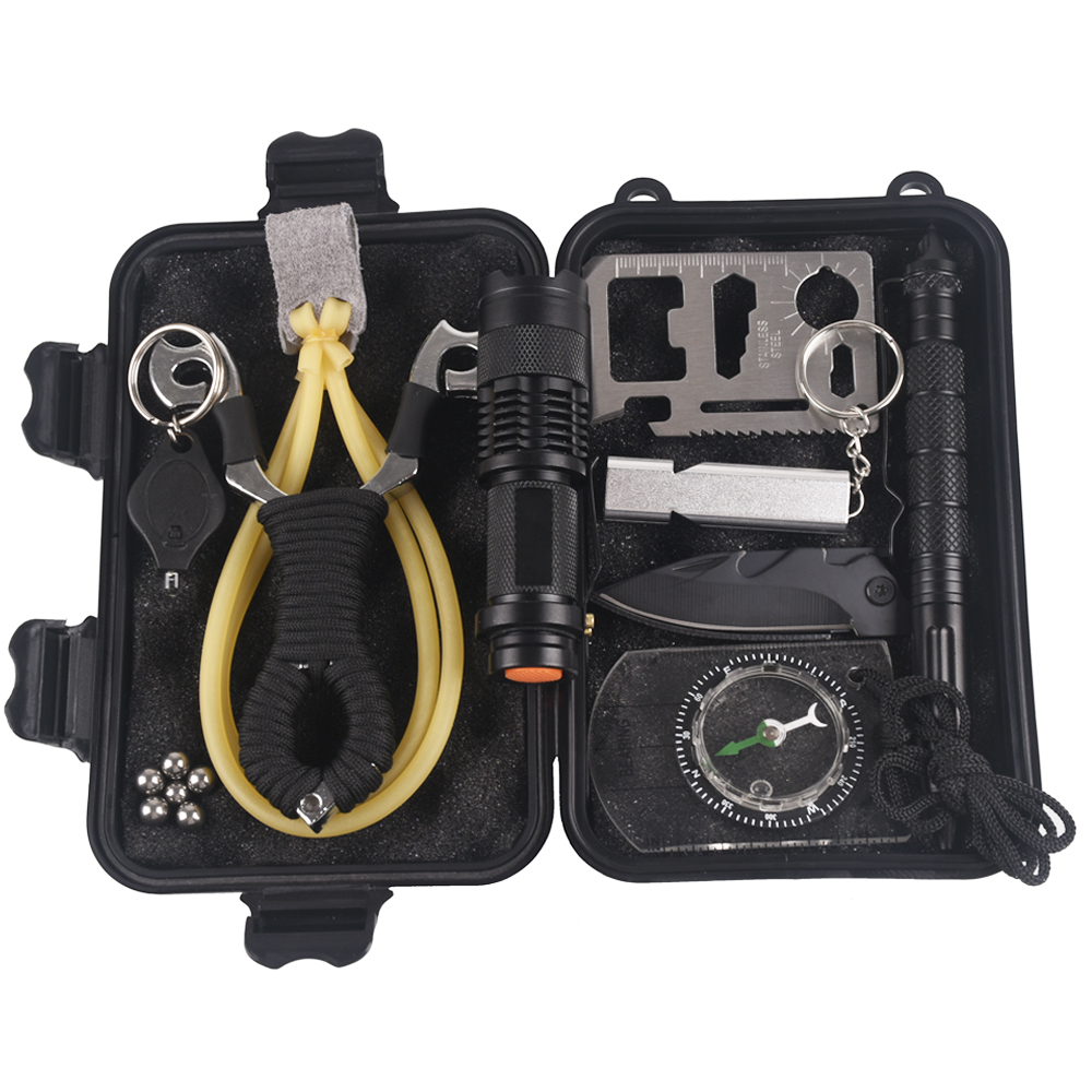 Camping 10 In 1 Survival Kit Outdoor Tourism Multifunction First Aid SOS EDC Emergency Supplies Tactical+slingshot Survival Gear