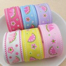 suoja 5y/lot 1 25MM Fruit Watermelon Printed Grosgrain Ribbon Tape 5 Yards,DIY Handmade Hair Bows Materials,Gift Wrap
