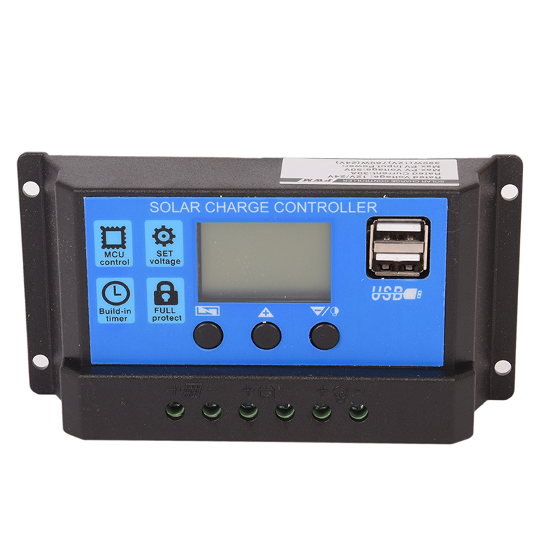 24V 12V Auto Solar Panel Battery Charge Controller 30A 20A 10A PWM LCD Display Solar Collector Regulator with Dual USB Output24V 12V Auto Solar Panel Battery Charge Controller 30A 20A 10A PWM LCD Display Solar Collector Regulator with Dual USB Output