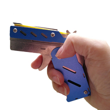 stainless steel rubber band Metal Mini fold toy pistol gun target for boy girl child children student kid gift board table games