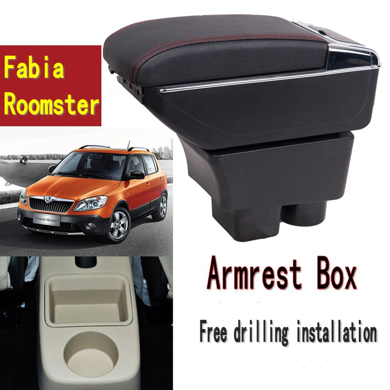 For Fabia Roomster armrest box central Store content Storage box with cup holder ashtray USB interface