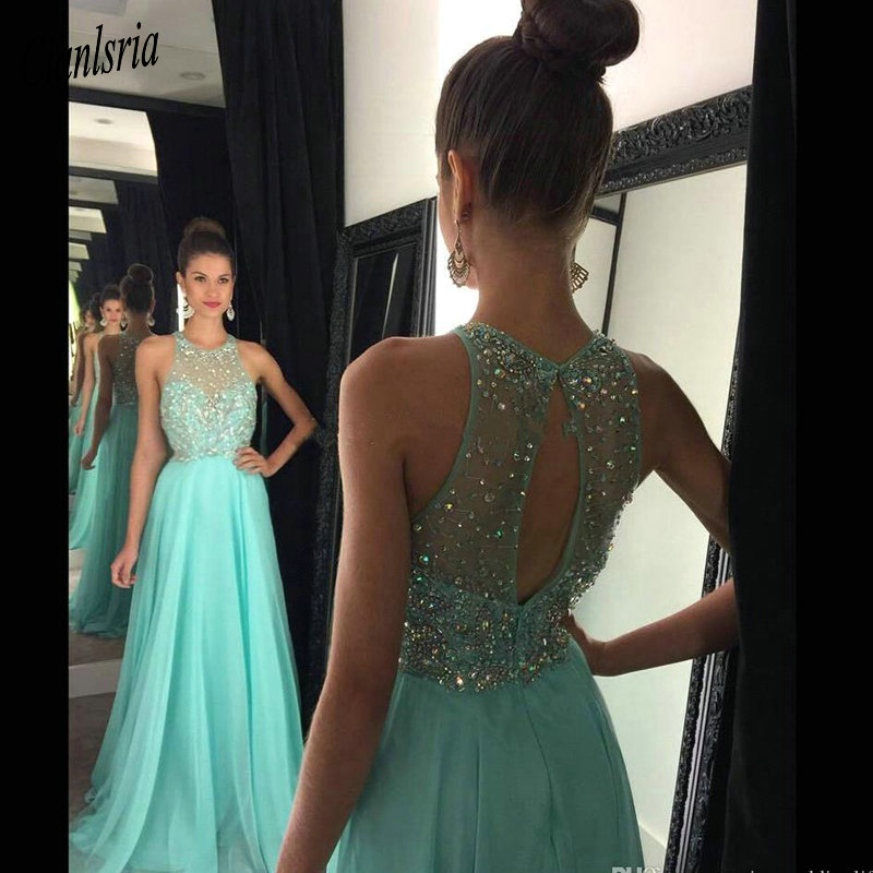 Mint Sleeveless Jewel Neck A Line Chiffon   Prom     Dresses   2019 Crystal Beaded Sexy Open Back Light Yellow Evening   Dresses